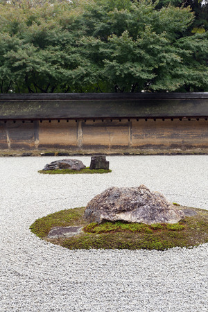 karesansui: A Zen Rock Garden in Ryoanji Temple.