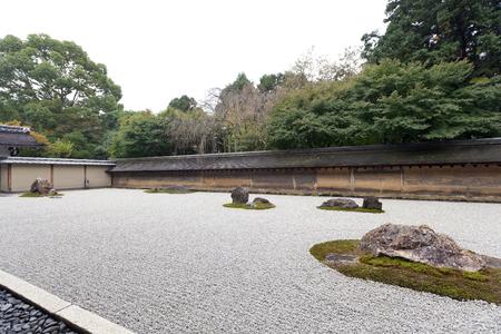raked: A Zen Rock Garden in Ryoanji Temple.