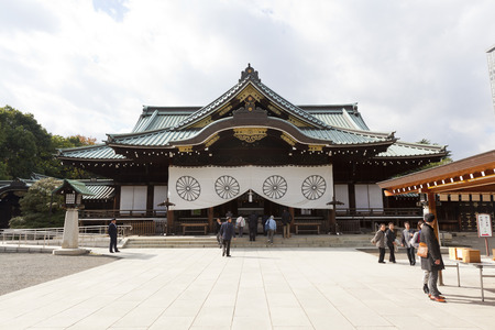 unesco world cultural heritage: People visit Yasukuni Shrine in Tokyo Editorial