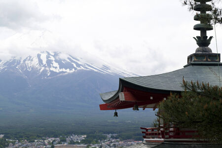 seaonal: Mt. Fuji viewed from behind Chureito Pagoda Stock Photo