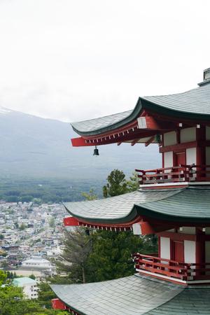 Mt. Fuji viewed from behind Chureito Pagoda photo