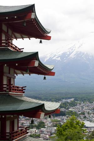 Closoe up Mt. Fuji viewed from behind Chureito Pagoda,Japan. photo