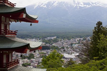 kawaguchi ko: Closoe up Mt. Fuji viewed from behind Chureito Pagoda,Japan.
