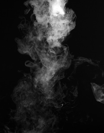 black and white image: Smoke on black background Stock Photo