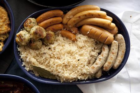 biergarten: Bavarian fried sausages on sauerkraut