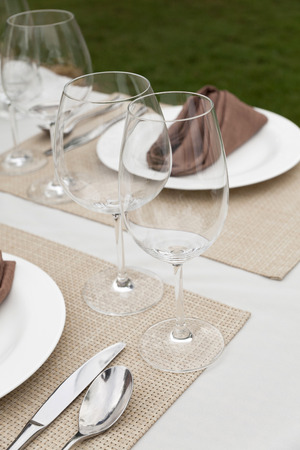 dinning table: dinning table with table set Stock Photo
