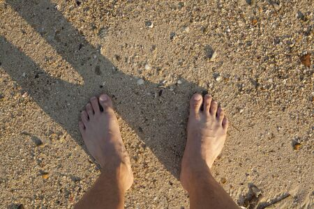 painted toenails: barefeet in sand on beach in summer