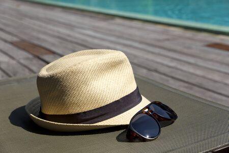 sunhat: sunglasses and white sunhat.