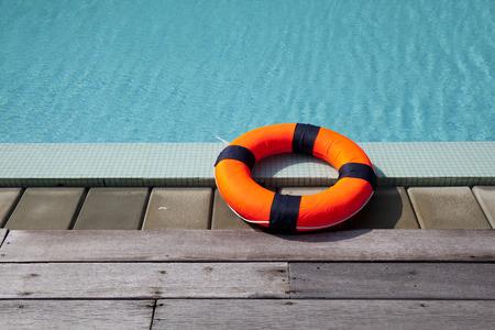 lifebelt at the pool 免版税图像