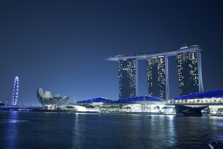 Marina Bay Sands at night in Singapore.