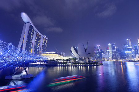 marina bay sand: Nightscape of Singapore Marina Bay Sand