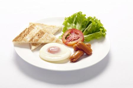 desayuno americano en la mesa de blanco Foto de archivo