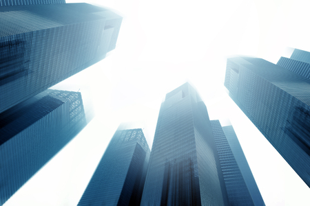 leading light: wide angle view of high rise building leading to the light Stock Photo