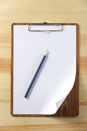 notepad with blank paper and pen Stock Photo