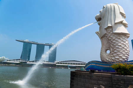 merlion: The Merlion fountain in Singapore