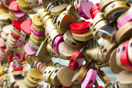 bldg: Many colorful locks at the deck of Umeda Sky Bldg. in Osaka Japan
