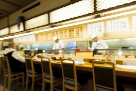 Abstracte onscherpe beeld van sushi restaurant