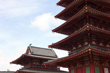 storied: Five Storied Pagoda at Shitennoji Temple in Osaka Japan Stock Photo