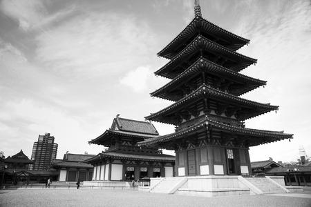 storied: Five Storied Pagoda at Shitennoji Temple in Osaka Japan Editorial
