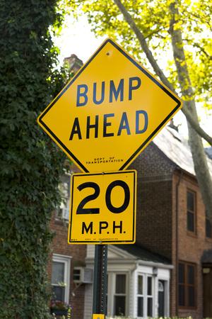 bumpy: Bumps Ahead road sign Stock Photo