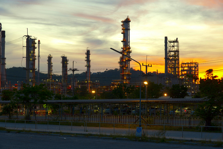 refinement: oil refinery plant at twilight