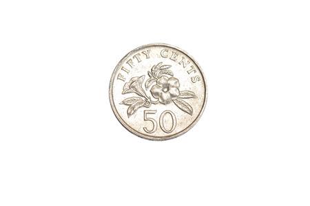 singaporean: singaporean 50 cent coin isolated on white background Stock Photo