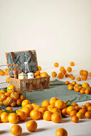 picknick: orange in a basket ,picknick concept Stock Photo