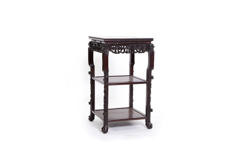 old desk: old thai wood furniture desk on white Stock Photo