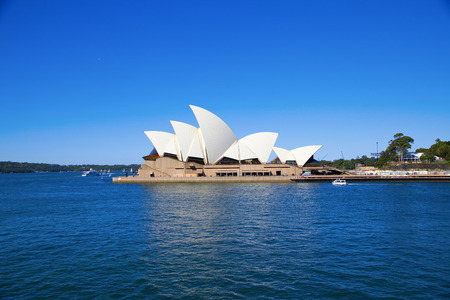 Side view of Sydney\'s most famous icon, the Sydney Opera House