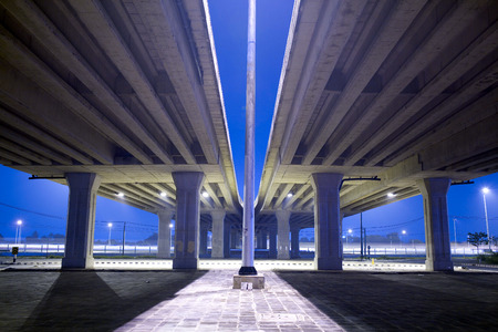 express lane: elevated express way at night time Stock Photo