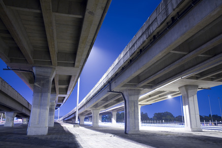 elevated: elevated express way at night time Stock Photo
