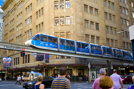 darling: monorail in Darling Harbour area of Sydney Editorial