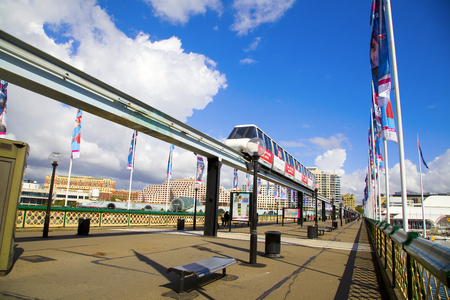 monorail: monorail in Darling Harbour area of Sydney Stock Photo