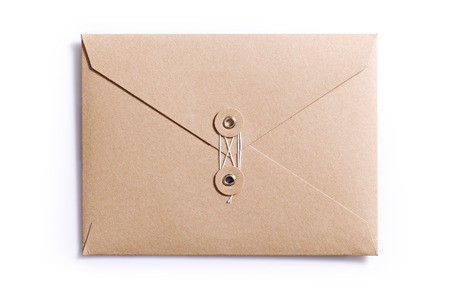 letter envelope: brown envelope isolated on the white background Stock Photo