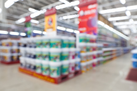 home stores: view of home painting department at hardware store ,blur image.