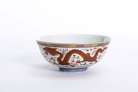 Chinese white dragon bowl