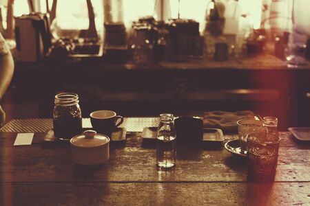 portability: rustic feeling image of coffee counter,vintage filter.