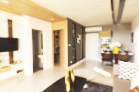 modern living room: blur image of modern living room interior Stock Photo
