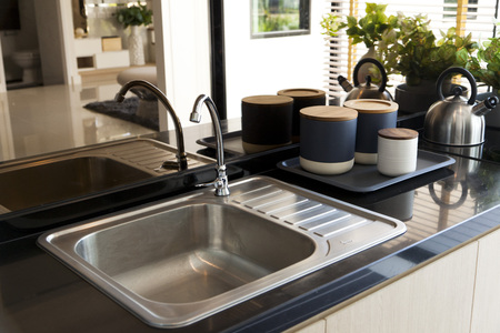 upmarket: Kitchen sink and faucet Editorial
