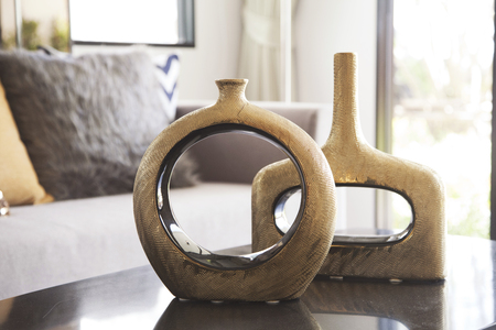 decoration vase on the table in living room Banco de Imagens