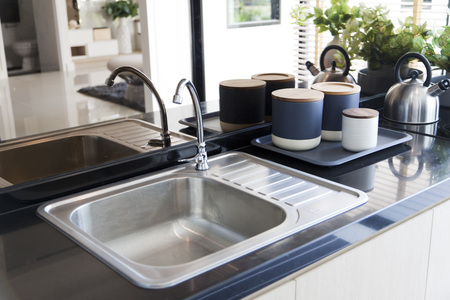 sink: Kitchen sink and faucet Stock Photo