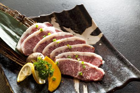 Wagyu Beef gesneden in een plaat Stockfoto