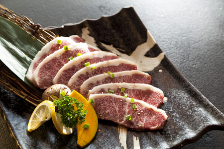 Wagyu Beef sliced in a plate Banco de Imagens