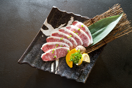 Wagyu Beef sliced in a plate Stock Photo