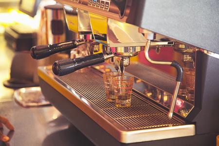 capucinno: coffee machine preparing fresh coffee