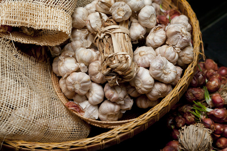 Basket of Fresh Garlic Bulbs Stock Photo