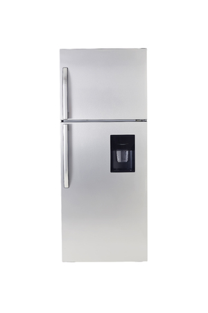 stainless: Stainless steel modern refrigerator isolated on white. Stock Photo