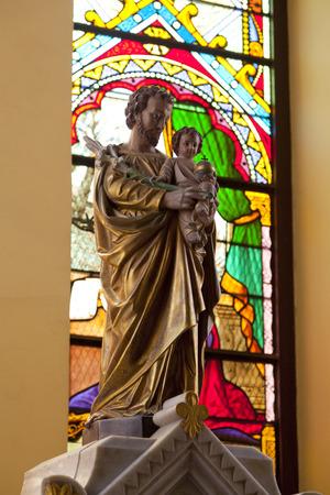 st  joseph: Stained glass window in St. Joseph Church in Ayuthaya, Thailand
