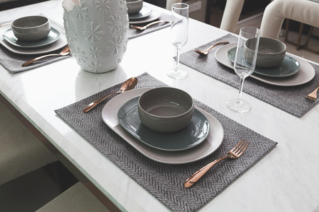 dinning table: table set on dinning table at home Stock Photo