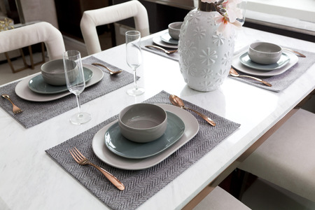 house ware: table set on dinning table at home Stock Photo